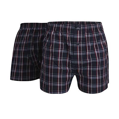 Götzburg Herren Boxershort, Baumwolle, Unterhose, Shorts - Boxers - Popeline, blau kariert, mit Eingriff, 2er Pack (M, Blue-Dark-Check)