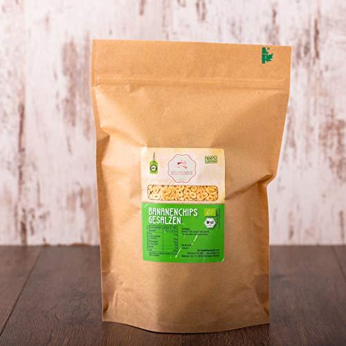 süssundclever.de® | Bio Bananenchips, gesalzen | 1 kg | mit Kokosöl verfeinert | hochwertiges Naturprodukt | plastikfrei und ökologisch-nachhaltig abgepackt