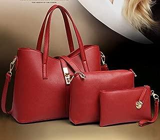 Woman Lady Purse Fashion three-piece Handbag Single shoulder bag Picture package Red xdvb25