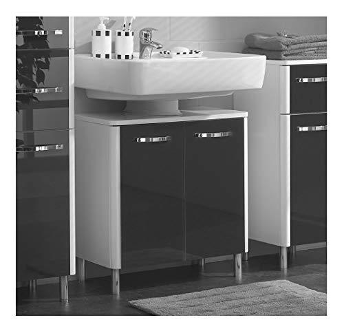Pelipal Badmöbel Leona - Waschbecken-Unterschrank 60 cm, 2-türig, Syphonausschnitt, Glas Schwarz - weiß Hochglanz/weiß