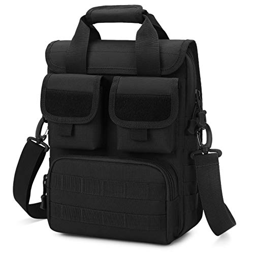 Selighting Tactical Briefcase Molle Military Outdoor Shoulder Messenger Engineers Bag Handbags Borsa a Tracolla Sling Crossbody Bag Tattica Porta Laptop 12' (Nero)