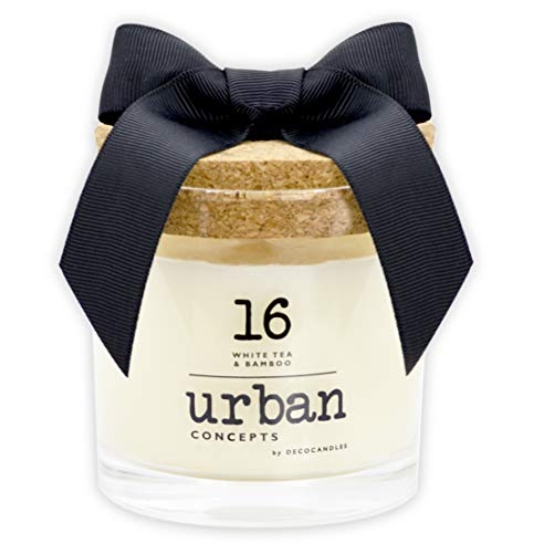 Urban Concepts by DECOCANDLES   White Tea & Bamboo - Highly Scented Soy Candle - Long Lasting - Hand Poured in USA , 6.7 Oz. w/ Cork lid