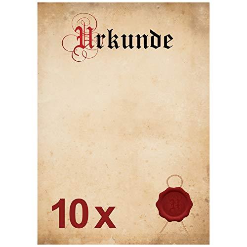 Urkunde Blanko – 10x Urkundenpapier in Elefantenhaut Design/vintage Papier A4 für z.B. Ruhestand, Richtfest, Teilnahme Bescheinigung, Jubiläum, Geburtstag