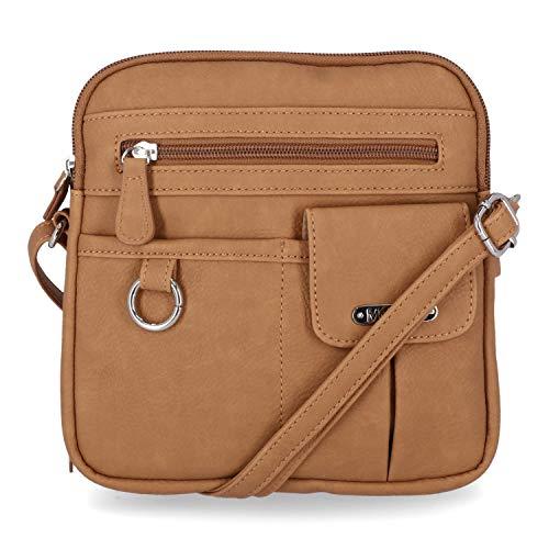 MultiSac Women's North South Mini Zip Around Crossbody Bag Cross Body, Hazelnut