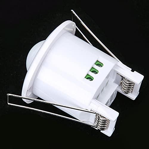 Shipenophy Interruptor de Sensor de 360 ° de Montaje en Pared de 100-240 V con Detector de Movimiento por Infrarrojos Empotrado con retardo de Tiempo para luz de Techo