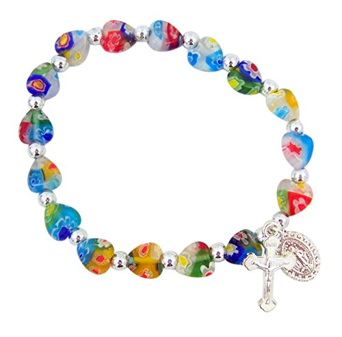 Colorful Heart Shaped Glass Bead Rosary Bracelet with Miraculous Medal Charm, 6 Inch