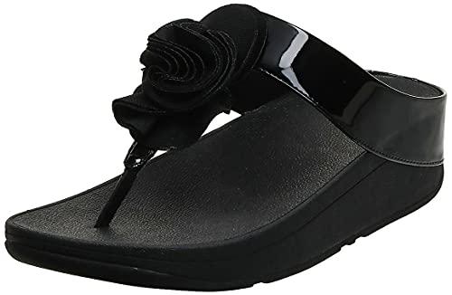 FitFlop Women's Florrie Toe-Thong Sandal, Black Patent, 5 M US