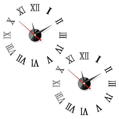 3D Relojes de Pared, BESTZY 2 Piezas DIY Reloj de Pared Espejo Pegatina DIY Frameless Gran Reloj de...