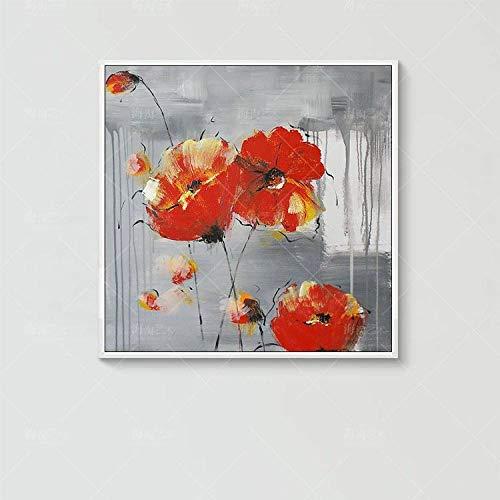 Pintura Al Óleo Pintada A Mano Sobre,Resumen De Botánica,Flores De Color Rojo,Fondo Gris Floral Arte Pop Moderno De Gran Tamaño Mural Pintado A Mano Arte Imagen Para Casa Salón Restaurante Decor
