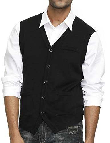 PJ PAUL JONES Men's Casual V-Neck Sleeveless Button Down Knitted Cardigan Sweater Vest Black S