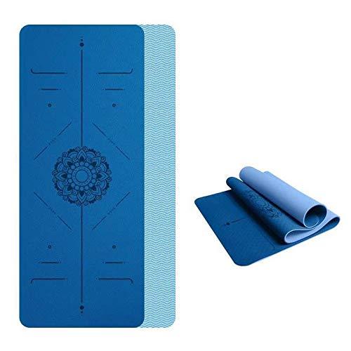YYQLLXH esterilla de yoga 1830 * 610 * 6 mm colchoneta de gimnasia de dos colores colchoneta de entrenamiento antideslizante adecuada para principiantes en fitness, pilates, gimnasia y yoga-3