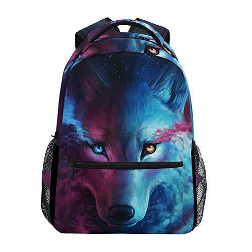 CPYang Watercolor Animal Moon Wolf Backpacks College School Bag Shoulder Casual Travel Daypack Hiking Camping