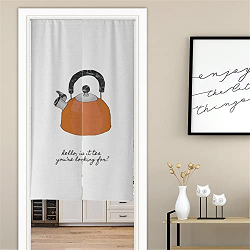 Hiseng Japanese Noren Curtain Long Type Door Tapestry for Home Decoration, Bedroom Kitchen Restaurant Bathroom Doorway Curtain, Toilet Partition Hanging Curtain (kettle,90x180cm)