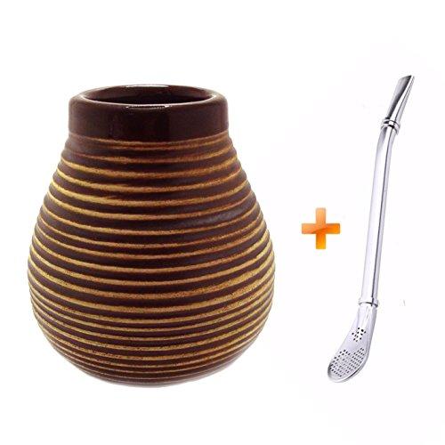 Mein Teeshop Mate Becher Keramik braun