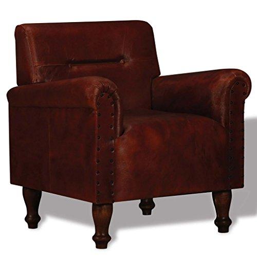 Tidyard Vintage Sessel Armsessel Wohnzimmersessel Ledersessel Loungesessel,Handgefertigt...