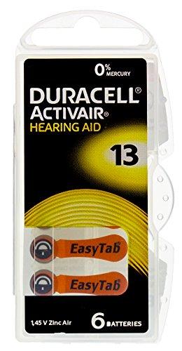 60 x Duracell Knopfzellen/ TYP 13/DA13N6/ 10 x 6 Hörgeräte-Knopfzellen/ 1,45V/Zink-Luft/ Hörgerätebatterien/ Hörgeräte-Batterien