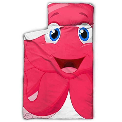 Alfombrillas de Color Rosa Happy Octopus Ocean Nap para Saco de Dormir de Viaje para niñas en Edad Preescolar Niños con Manta y Almohada Diseño Enrollable Ideal para preescolares Guarderías para pij