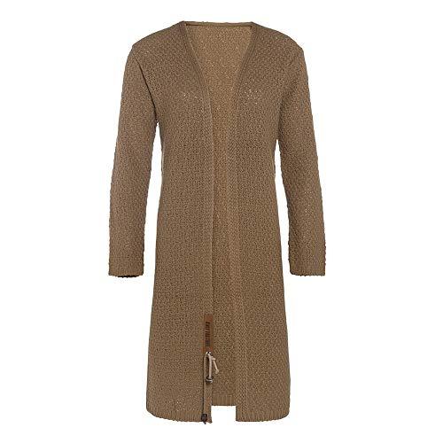 Knit Factory - Luna Lange Strickjacke - Damen Strickjacke mit Taschen - Cardigan mit Wolle - Hochwertige Qualität - New Camel - 40/42