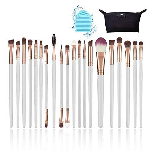 pinceles maquillaje, set de brochas de maquillaje, para base polvos, rubor, corrector, sombra de ojos, con bolso negro y limpiador de cepillo (20 piezas-blanco)
