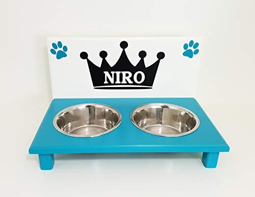 Jennys Tiershop Futternapf/Hundenapf. Tolle Futterbar mit 2 Edelstahlnäpfen je 1500 ml für große Hunde. Krone mit Namen. Lackierung in weiß/türkis (2tzP)