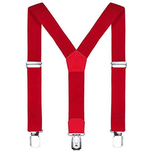 DonDon Bretelle bambino rosso 2 cm fini e regolabili, altezza 80-110 cm, 1-5 anni