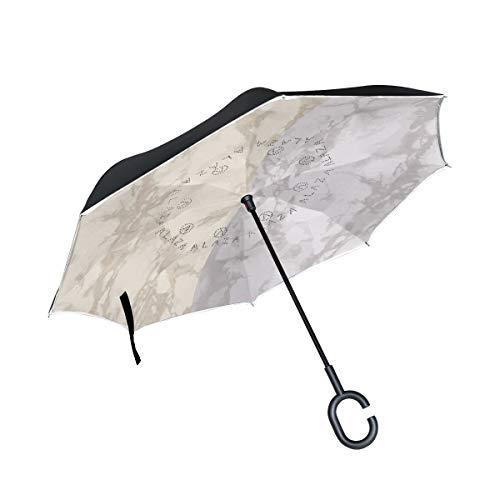 Nube De Pizarra Paraguas Invertido Antiviento Protección contra Rayos UV Ligero Compacto Invertida Paraguas para Coche Viajes Playa Mujeres Niños Niñas