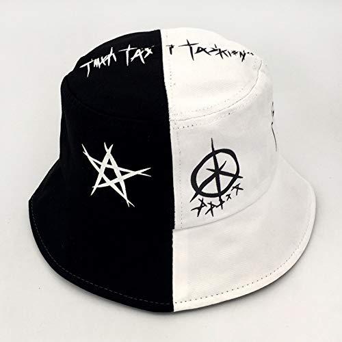 Sombrero de Pescador de Graffiti en Blanco y Negro, Marca de Moda Masculina, Hip-Hop, Calle Hipster, Estudiante Coreano japonés, Sombrero de Lavabo de Moda