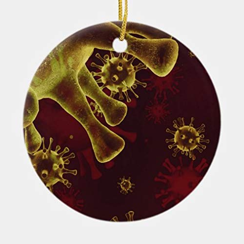 onepicebest Christmas Ornaments,Round Covid-19 Coronavirus Virus Spreading As Medical Ceramic Ornament Xmas Gifts Presents, Holiday Tree Decoration Stocking Stuffer Gift