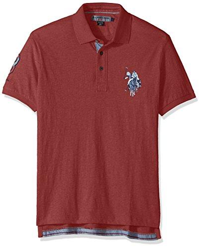 U.S. Polo Assn.. Men's Slim Fit Solid Short Sleeve Jersey Polo Shirt, 8327-Brandy Apple, L