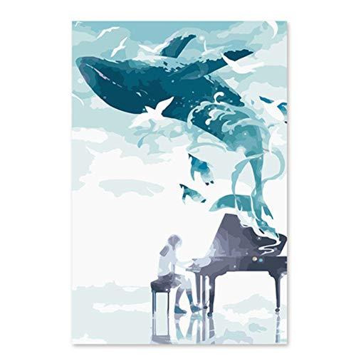 Yqgdss Große Wal Aus Klavier Musik DIY Digitales Ölgemälde Durch Zahlen Zeichnung Handgemalte Bild Wanddekor 40x50cm