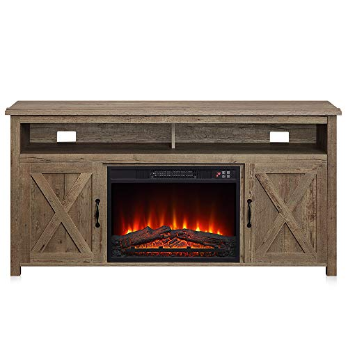 """BELLEZE 014-HG-41007-HT-ORW 58"""" Corin Barn Door Wood Fireplace Stand with Remote Control for TV"""