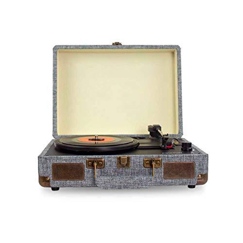 PRIXTON VC400 - Tocadiscos de Vinilo Vintage, Reproductor de Vinilo y Reproductor de Musica Mediante Bluetooth y USB, 2 Altavoces Incorporados, Diseño de Maleta, Color Gris