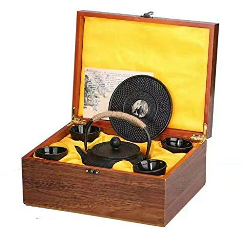 Yongqin Hervidor de hierro fundido Juego de tetera de hierro fundido Hervidor con infusor de acero inoxidable 4 * Taza de té, 1 * Bandeja Caja de madera Embalaje Estilo asiático 900 ml (Colo
