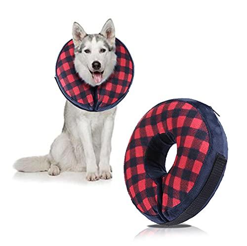 Soapow Collar inflable protector de perro para recuperación de mascotas, cono para gatos y perros para evitar lamer morder