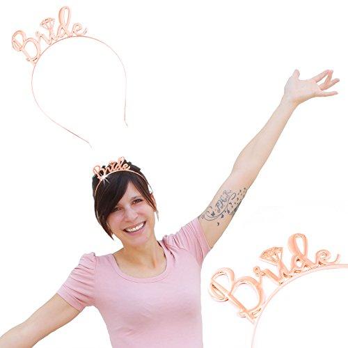 Oblique-Unique® Haarreifen Bride JGA Junggesellinnenabschied Hochzeit Rose Gold