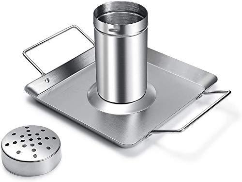 Xyl Soporte para latas de Cerveza, Rejilla para asador de Acero Inoxidable, Incluye Recipiente de Metal y Bandeja de Goteo para Horno o Parrilla, Apto para lavavajillas