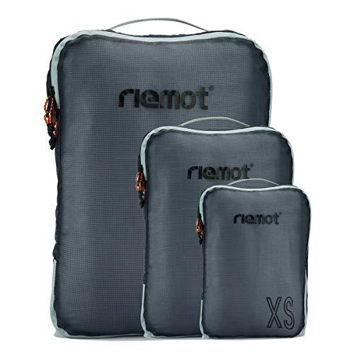riemot Packtaschen Packwürfel Gepäck-Organizer Kleidertaschen Reisetaschen für Rucksack und Koffer Set 3-teilig Dunkelgrau