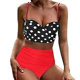 Berimaterry Bikini Mujer Push Up 2019 Nuevo Cintura Alta Sexy Bañador Cintura Alta Traje de baño,Tankini Lunares Push Up Vintage Talle Alto Conjunto de Baño Retro Polka Punto Cintura Alta