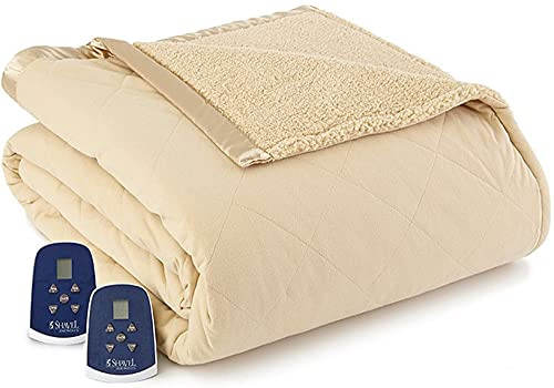 Shavel Home Products Micro Flannel Reverse to Sherpa Electric Heated Blanket, Chino, King