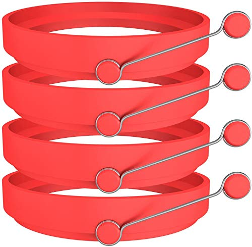 Newthinking Premium Silicone Egg Ring/Pancake Mold. Non Stick Frying Pancake Moulds Silicone Cooking Rings Round with Handle Pack of 4 (Red)