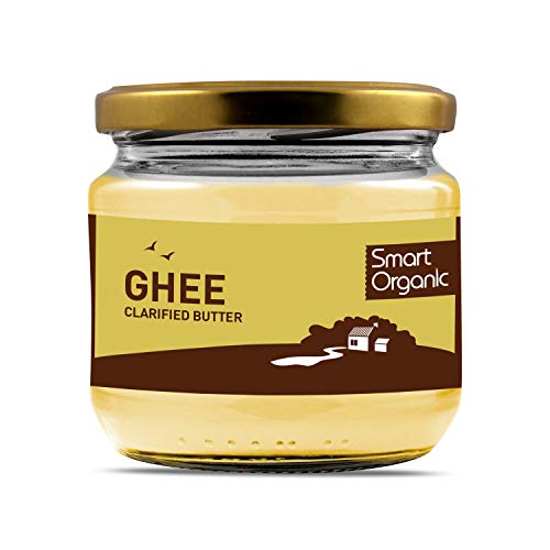 Smart Organic Ghee Clarified Cow Butter, 100% Bio Organic, Delicate Nutty Taste, Suitable for High Temperature Cooking, 270 g in a Glass Jar