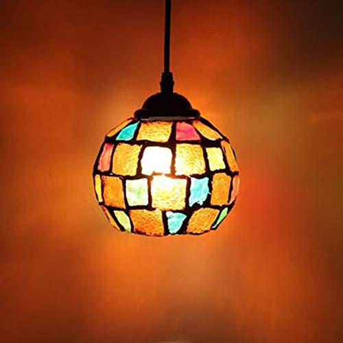 Mosaico De La Vendimia Colgante De La Lámpara De Estilo Marroquí Luz De Techo Hecho a Mano Artesanía Para Bar Cocina Cafetería (Multicolor)