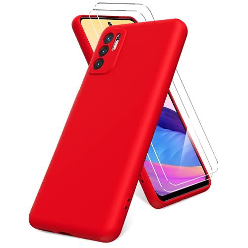 Vansdon Funda Compatible con Xiaomi Redmi Note 10 5G, 2 Unidades Protector Pantalla Cristal Templado, Silicona Líquida Gel Ultra Suave Funda- Rojo
