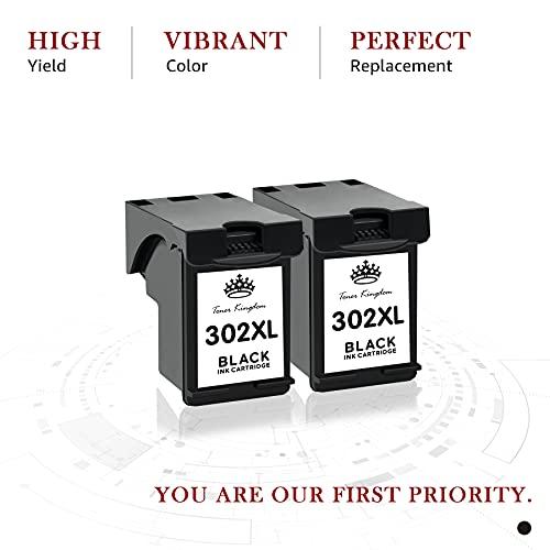 Toner Kingdom Remanufacturado para HP 302XL 302 Cartuchos de Tinta Reemplazo para HP DeskJet 1110 2130 3630 Envy 4520 4522 4523 4524 Officejet 3830 3831 4650 4652 4654 5220 5230 (2 Negro)
