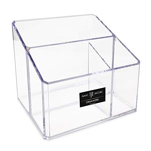 Isaac Jacobs Clear Acrylic 3-Compartment Organizer, Remote Holder & Multi-Functional Makeup, Brush, Pen & Pencil Storage Solution, for the Home, Bathroom, Office, Child's Desk (3-Section)