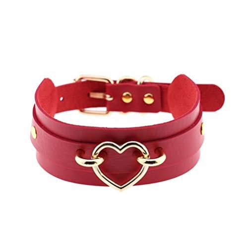 FENICAL Gargantilla de Cuero para Mujer Collar de Cadena de Collar de Cuero de PU para Mujer Dama (Corazón de Oro Rojo)