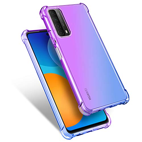 QCMM for Huawei P Smart 2021 / Huawei Y7A Case Slim Shock Absorption Transparent TPU Soft Edge Bumper with Reinforced Corners Multicolor Gradient Protective Cover, Purple Blue