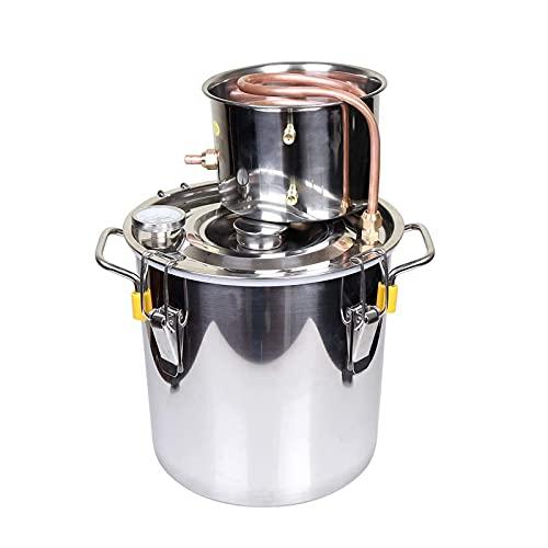 JIXIN Moonshine Still Spirits Kit Destilador de Alcohol de Agua Kit de elaboración de Vino para elaboración casera Caldera de Aceite Tubo de Cobre Acero Inoxidable,10l