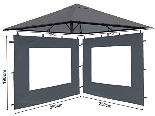 QUICK STAR Set Ersatzdach und 2 Seitenteile für Garten Pavillon 3x3m Grau RAL 7012 Antik Pavillondach Ersatzbezug Seitenwand