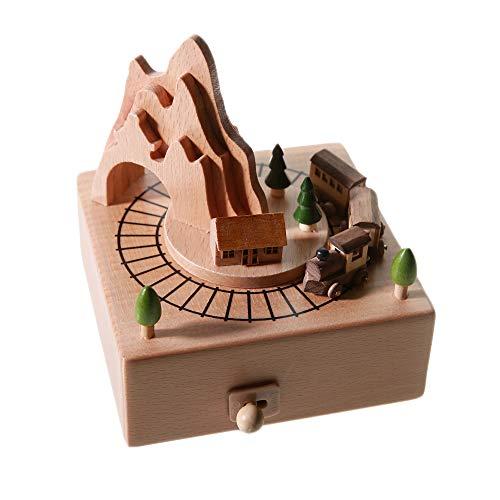 Chonor Scenari Innovativo Carillon Di Legno, Premium Creativo Mano Manovella Artigianato In Legno Scatola Di Musica Migliore Regalo E Decorazioni Idea Per Il Compleanno, Natale (Treno Di Memoria)